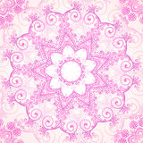 Pink ornate vector lacy seamless pattern Stock Photo