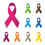 Pink and other color ribbons, breast cancer awareness vector ico Stock Image