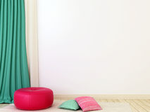 Pink ottoman and curtains. Interior composition with bright pink ottoman, pillows scattered on the carpet and turquoise shades Stock Images
