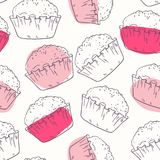 Pink outline seamless pattern with muffins Royalty Free Stock Photography