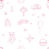 Pink outline toys pattern Royalty Free Stock Photo