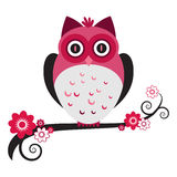 Pink Owl. A cute pink owl on a flowering tree branch royalty free illustration