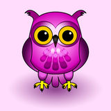 Pink owl. Fun and cute owl cartoon character, all in pink and purple tones, over soft background with drop shadows Stock Image