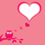 Pink owl background. Pink Valentine floral background with space for text Royalty Free Stock Image
