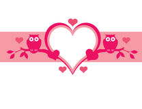Pink owl background. Pink Valentine floral background with space for text Royalty Free Stock Images