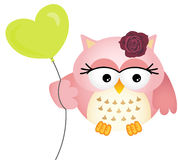 Pink Owl with Balloon. Scalable vectorial image representing a pink owl with balloon, isolated on white Stock Photos