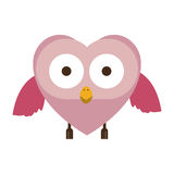 pink owl cute cartoon character Stock Photo