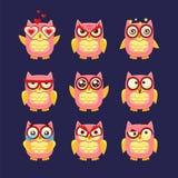 Pink Owl Emoji Collection Royalty Free Stock Image