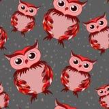 Pink owl on gray seamless pattern Royalty Free Stock Photo