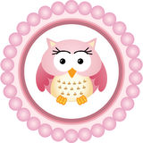 Pink Owl Round Label Stock Images