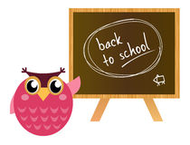 Pink Owl showing back to school. Stock Photo