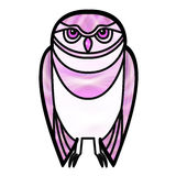 Pink Owl in Stained Glass Style Stock Image