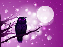 Pink owl. Vector pink owl on the branch on starry pink background, eps10 file, gradient mesh and transparency used Stock Photography