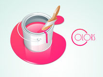 Pink paint bucket with brush. Stock Photography