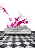Pink paint splash white leather sofa Stock Photography