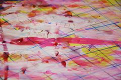 Pink paint, white wax, watercolor abstract background Stock Image