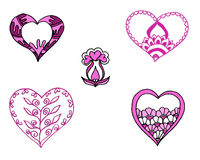 Pink painted hearts set Stock Photos