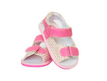 Pink pair of baby girl little shoes Royalty Free Stock Photos