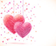 Pink pair of hearts Valentines day background Royalty Free Stock Photo