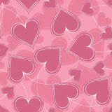Pink Paired Hearts Background Stock Photo