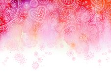 Pink Paisley Background. Pretty background created with watercolor Stock Photo
