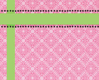 Pink paisley print background trimmed in lime. Pink and white paisley printed background with lime green ribbons and black polka dots that will make the perfect Royalty Free Stock Photos