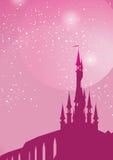 Pink palace. Starry sky sparkling above fairytale palace Stock Photos