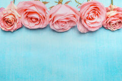Pink pale roses border on blue background. Top view Royalty Free Stock Photography