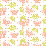 Pink palm leaves and butterflies seamless vector pattern. stock illustration