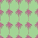 Pink palm trees on green background seamless pattern. Vector illustration Royalty Free Stock Photos