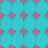 Pink palm trees on teal blue background seamless pattern. Vector illustration Royalty Free Stock Photography