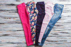 Pink pants and blue jeans. Royalty Free Stock Images