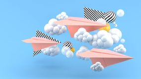 Pink paper airplane amid clouds on blue background and colorful balls. 3d render vector illustration