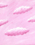 Pink paper background with clouds Royalty Free Stock Photo