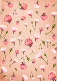 Pink paper background with roses flowers Royalty Free Stock Photography