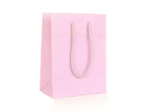 Pink paper bag. Isolated on white background Royalty Free Stock Photos
