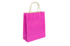 Pink paper bag ready for shopping. Isolated on white background Stock Image