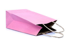 Pink paper bag on white background Royalty Free Stock Photography