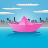 Pink paper boat Royalty Free Stock Image