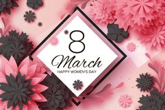 Pink Paper Cut Flower. 8 March. Womens Day Greetings card. Origami Floral bouquet. Rhombus frame. Text. Spring Seasonal Royalty Free Stock Images