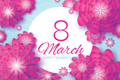 Pink Paper Cut Flower. 8 March. Origami Women`s Day. Circle Frame. Space for text Stock Images