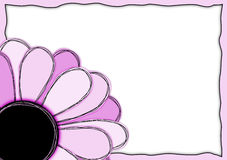 Pink paper flower greeting card frame Royalty Free Stock Image