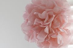 Pink Paper Flower Soft Baby Girls. Soft Pink Crushed Paper Flower - suitable for themed pink rooms - home décor or wall art design Stock Photo
