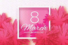 Pink Paper flower. Women`s Day. 8 March. Square Royalty Free Stock Photos