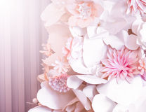 Pink paper flowers. Decorative background from pink paper flowers Royalty Free Stock Photography