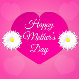 Pink paper heart with congratulations Happy Mother's DAY inserted in the notch of the paper sheet  with flowers. Royalty Free Stock Image