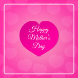 Pink paper heart with congratulations Happy Mother's DAY inserted in the notch of the paper sheet. Royalty Free Stock Images