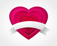 Pink paper heart with ribbon Royalty Free Stock Photo
