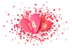 Pink paper heart shape cards with date 14 February on red and pink confetti. Background stock illustration