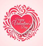 Pink Paper Heart. Valentines Day Greeting Card on Royalty Free Stock Photo
